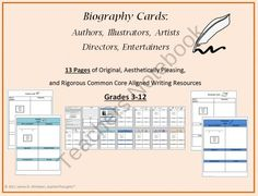 Biography Card Templates product from SophistThoughts on TeachersNotebook.com