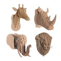 The Cardboard Safari Animals Set combines four of our most classic animal heads. Animals are made of environmentally friendly, recycled cardboard.
