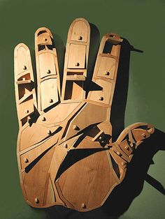 "Alexandre Arrechea ""The Creative Hand/ La Mano Creadora"" x in Wood Woodworking Box, Woodworking Projects, Woodworking Classes, Unique Furniture, Wood Furniture, Funky Furniture, Symbol Hand, Woodworking Inspiration, Got Wood"