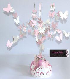 alberello centrotavola o confettata con farfalle e fiorellini