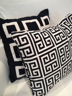 Black and White Greek Key Pillow by DistinctiveDesignByG
