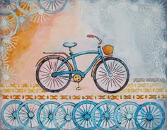 Mixed Media Painting using a Bike Stencil designed by Pippin Schupbach for StencilGirl Proudcts. The perfect stencil to welcome summer!