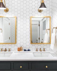 Hexagon Tile Bathroom, Bathroom Wall, Small Bathroom, Bathroom Ideas, Bathroom Hacks, Basement Bathroom, Bathroom Storage, Brass Bathroom Fixtures, Bathroom Lighting