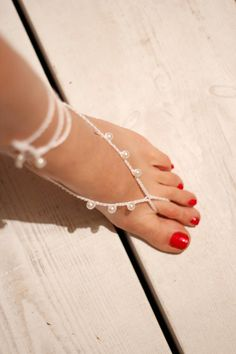 Beach Wedding Sandals with pearls Crochet Barefoot by Kreacje