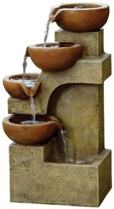 Alpine Tiering Pots Modern Tabletop Fountain, 17 Inch Tall, Brown for sale online Fountain Lights, Tabletop Water Fountain, Garden Water Fountains, Indoor Fountain, Water Garden, Lawn And Garden, Fountain Garden, Fountain Ideas, Garden Fun