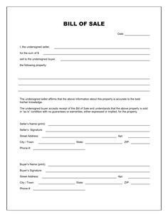 Printable Sample Bill Of Sales Template Form