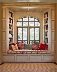 I want a window and bench like this where i could read all my books! <3