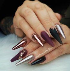 Nail Shapes - My Cool Nail Designs Cute Acrylic Nails, Matte Nails, Black Nails, Fun Nails, Purple Toe Nails, Black Nail Designs, Cool Nail Designs, Acrylic Nail Designs, Gorgeous Nails