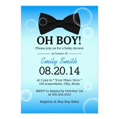Bubbles & Bow Tie Boy Baby Shower Card
