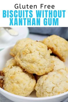 To make gluten free biscuits without xanthan gum, we're using a bit of konjac powder in a brand new gluten free flour blend. The results are amazing! Gluten Free Recipes For Breakfast, Best Gluten Free Recipes, Gluten Free Breakfasts, Gf Recipes, Bread Recipes, Gluten Free Biscuits, Gluten Free Baking, Sample Recipe