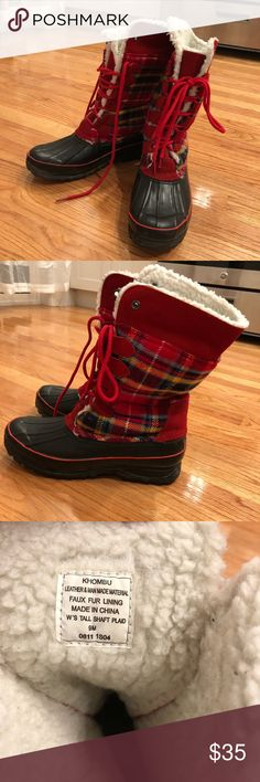 Women's Khombu Winter Boots / Size: 9 Gently used condition Khombu brand lace up and heavy duty winter boots. Faux fur lining, heavy rubber bottoms and soles and fun red plaid pattern. I wore a few times last winter but they just don't fit me correctly anymore! Khombu Shoes Winter & Rain Boots