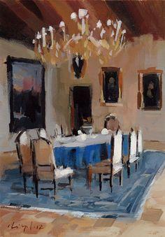 David Lloyd - Interior with Blue Tablecloth