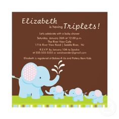 Mama & Baby Elephants Triplets Baby Shower Personalized Invite by celebrateitinvites