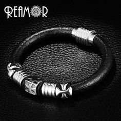 a256e306e2cc Click to Buy    REAMOR Punk Style Black Leather Rope Bracelet Men 316l