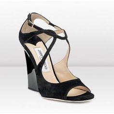 Jimmy Choo Verena Black Suede Wedge Sandal