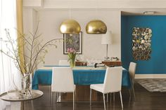Sliver and brass with a bright turquoise for a modern, refreshing look.