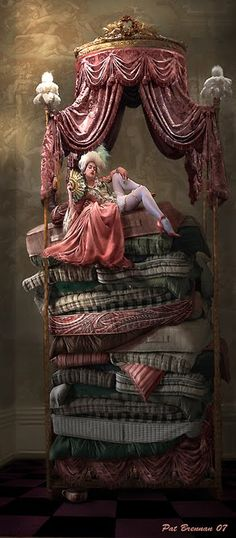 Once Upon A Blog...: Fairy Tale Art by Pat Brennan / The Princess and the Pea - this is so well done, I really can't tell if it's a painting or real doll and beds.