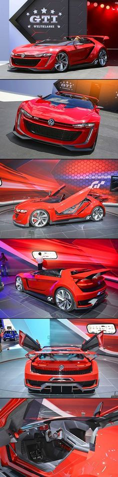 Volkswagen& GTI Roadster Concept debuted in Gran Turismo but a real working model of the car was unveiled this week at the LA Auto Show. Bugatti, Design Autos, Auto Volkswagen, Kdf Wagen, Futuristic Cars, Sweet Cars, Car Car, Amazing Cars, Hot Cars