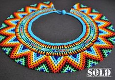 Happy to announce that this beautiful necklace is on its way to Łódź Beadwork, Beading, Bead Necklaces, Mexican Style, Judo, Beautiful Necklaces, Shawls, Boho Fashion, Jewerly