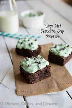 Fudgy Mint Chocolate Chip Brownies