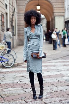 Julia Sarr-Jamois ready for a night out in Milan (by Tamu McPherson for All the Pretty Birds) #streetstyle