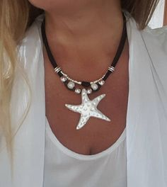 leather starfish pendant necklace multistrand pearls