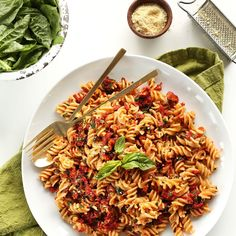 Sun-Dried Tomato Pesto Pasta (V + GF) Recipe with gluten-free pasta, sun-dried tomatoes, extra-virgin olive oil, fresh basil, garlic cloves, vegan parmesan cheese