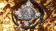Vintage Silver & Plexiglas Raphael Angel Pendant on Raspini Cord