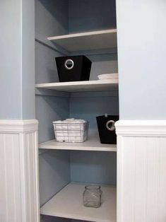 remove closet door in bathroom and use pretty containers for open shelving? Bathroom Closet Organization, Bathroom Linen Closet, Open Bathroom, Bathroom Renos, Basement Bathroom, Bathroom Shelves, Bathroom Wall, Bathroom Ideas, Bathrooms