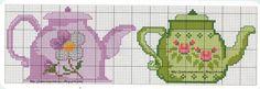 graficos barrados pano de prato ponto cruz xicaras e bules_Pesquisa do Baidu