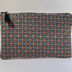 "Trousse pochette plate en tissu pochette plate tissu motifs ethniques style wax ""vagues"" pois orange"