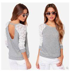 outono hdy141166896 2014 novo moda blusa mulheres oco costura laço manga comprida casual blusa de malha