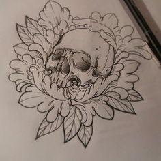 diseño disponible para tattoo full color #skull #peony # ...