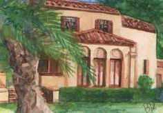 Watercolor ACEO Painting Florida House Architecture SFA US 2000-Now Realism '17 #Realism