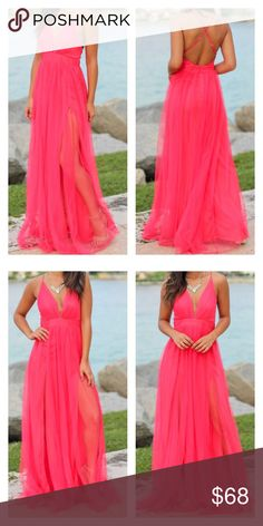 28c040941c Watermelon Pink Layered Flowy Dress Measurements for Large Strap: .25