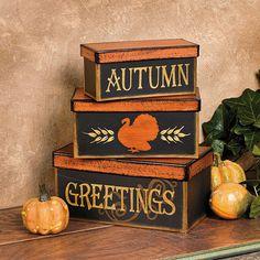 """Autumn Greetings"" Stacking Boxes - TerrysVillage.com"