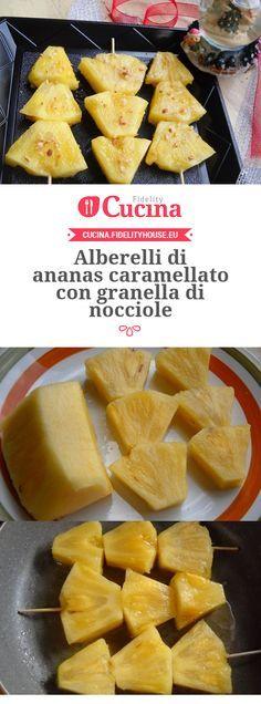 Alberelli di ananas caramellato con granella di nocciole