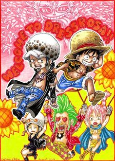 Chibi Dressrosa - Trafalgar D. Water Law, Monkey D. Luffy, Nico Robin, Rebbeca, Bartolomeo, and Donquixote Doflamingo One piece