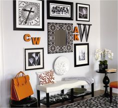 The pops of orange are a fantastic touch to this Modern Metro styled entryway.     Find out what type of home decor personality you have by taking our Stylescope quiz. Click here!
