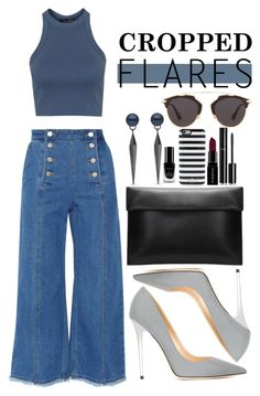 """Cropped flares"" by dontneedfashion ❤ liked on Polyvore featuring Steve J & Yoni P, Topshop, Jimmy Choo, Inglot, Christian Dior, Kate Spade, Smashbox, Chanel, women's clothing and women's fashion"
