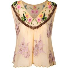 Floral Embellished Top** ($29) ❤ liked on Polyvore featuring tops, blouses, shirts, blusas, women, shirt blouse, no sleeve shirt, sleeveless shirts, floral sleeveless blouse and sleeveless blouse