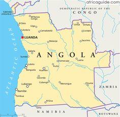 Angola map with capital Luanda
