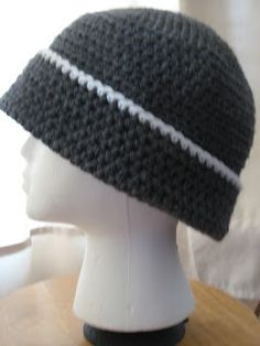 My husband wanted a simple, no frills hat that folded up. Here's the very simple pattern that I came up with. Sorry about the girl head...do...