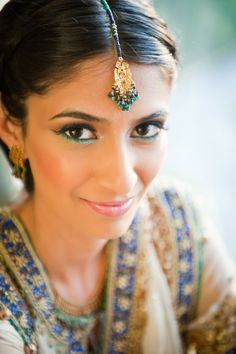 Gorgeous Pakistani bride.  Teal and blue eyeliner?  Lovely idea  Makeup: Noorface
