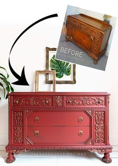 Red Ornate Dresser Before and After