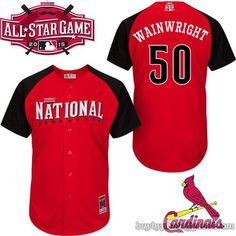 efd3b2563 2015 MLB All Star National St. Louis Cardinals  50 Adam Wainwright Jersey  Red Baseball