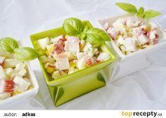 Salat z krabich tyciniek - lahodny recept - TopRecepty. Krabi, Pasta Salad, Potato Salad, Salads, Potatoes, Diet, Ethnic Recipes, Food, Fitness