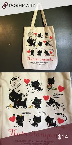 Kutusitanyanka Cat Tote (Korea) Great size tote for everyday use or as a grocery bag. Adorable character hanging out with his small kitten friend. Adorable kitten lining and Velcro closure. Please comment with questions, concerns, trading, bundles, price, etc. Bags Totes