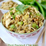 Thai Peanut Chicken Quinoa Bowls - ditch the edamame since I'm allergic to soy - maybe add in some broccoli or other stir fry style veggies. Yum!