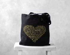 Another possible idea for bridesmaid gifts!  The heart on the bag has love written in a variety of languages!